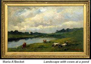 Maria A'Becket - Landscape with cows at a pond