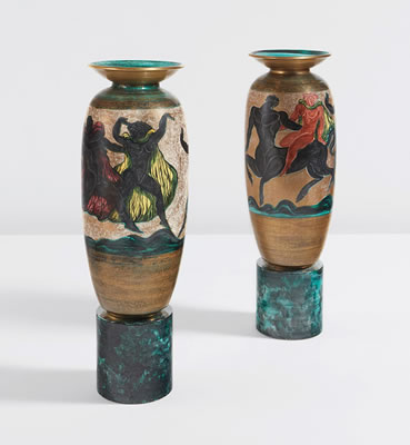 Jean Mayodon-Pair of large urns