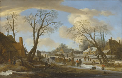 Pieter Molyn-A winter village landscape with peasants on a frozen waterway