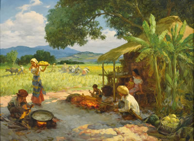 Fernando Cueto Amorsolo-By the Padi Field