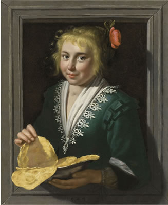 Werner Jacobsz Valckert-A girl holding pancakes in a feigned stone window