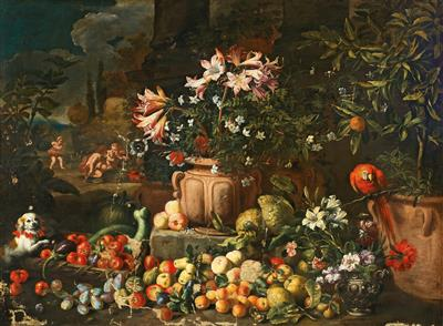 Abraham Brueghel Llamado Ryngraaf-Still life of flowers with fruits, putti and animals