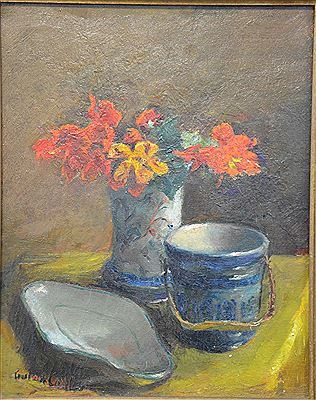 "Gustave Caillou-""Still Life with Flowers"""