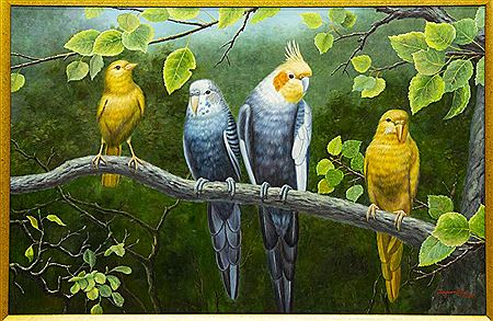 Luyuan Qing-Four Birds on a Branch