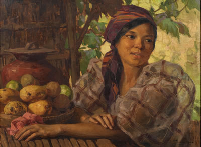 Fernando Cueto Amorsolo-Maiden with Fruits, 1930