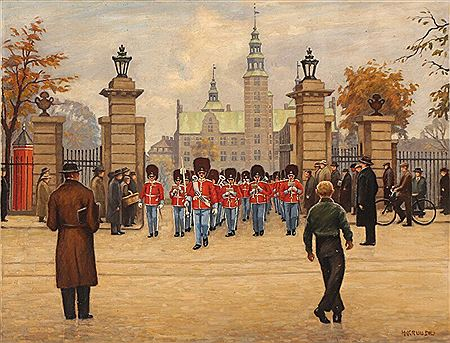 Hans Kruuse-The Royal Guard marching out of Kongens Have by Rosenborg Castle in Copenhagen.