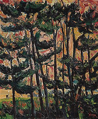 Sam Cairncross-Pine Trees at Sunset (Trees Behind Sam's House at Porirua)