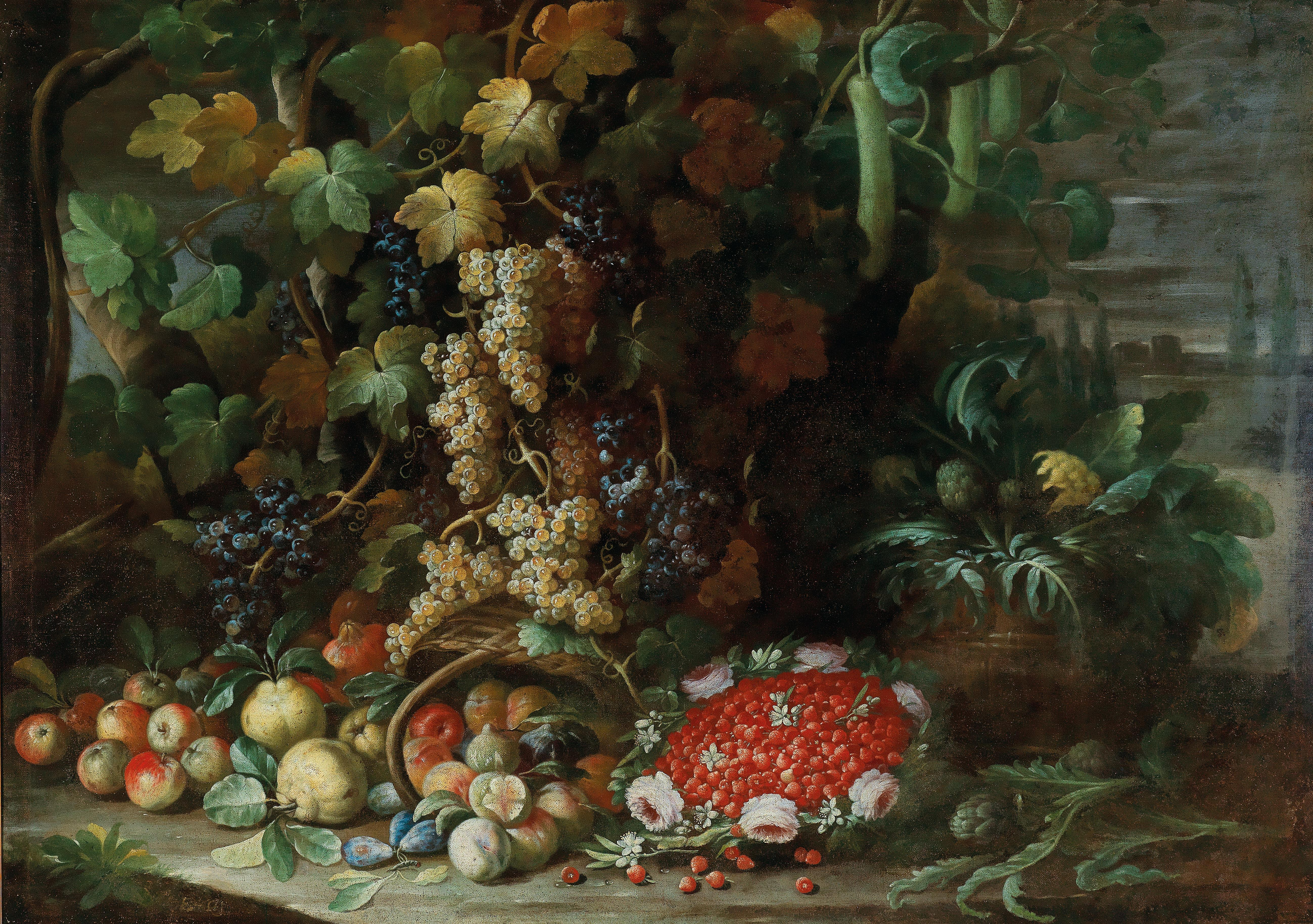 Francesco della Questa-An overturned basket of fruit, flowers and vegetables with a strawberry-filled garland in a villa garden