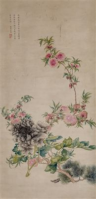 Huai'e Yun-Peony and Prunus Blossoms, late Qing Dynasty