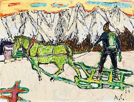 Alois Carigiet-Farmer with horse drawn sledge in a winter landscape. 1964.