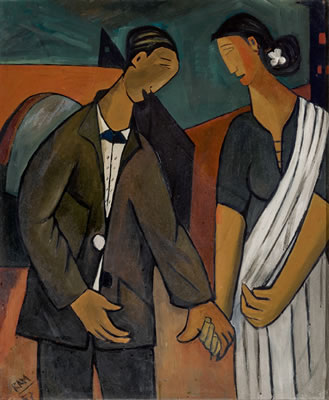 Ram Kumar-Untitled (Man and Woman Holding Hands)