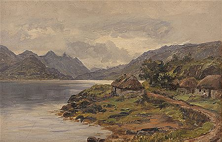 Alexander Williams-Lakeside cottages with figures, West of Ireland