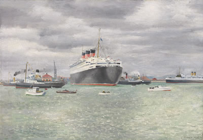 Richard Eurich-Queen Mary, Going into Graving Dock