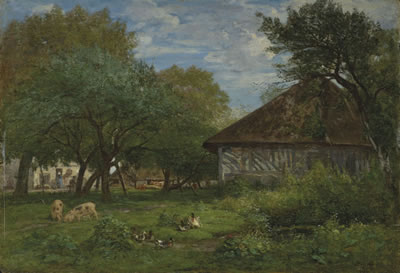 Eugene Louis Boudin-Ferme aux environs d'Honfleur<font color=brown> - Auction postponed due to COVID-19. New date TBD</font>