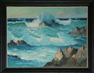Ralph Victor Murray-Crashing Waves on the Carmel Coast
