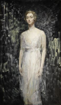 Ambrose McEvoy-Portrait of a Lady, full length, in a white gown