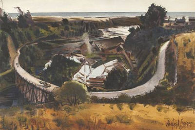 Milford Zornes-Saw Mill by the Sea, 1939
