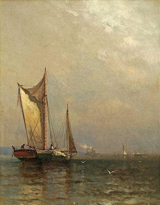 Arthur Quartley-Sailboats on the Hudson