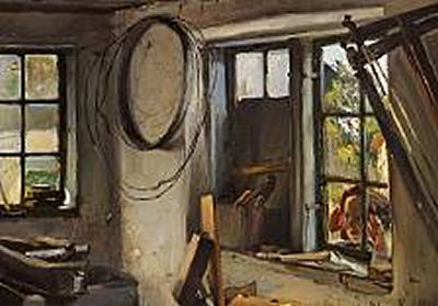 Hans Ludvig Smidth-A Little Girl Peeking Curiously Through the Window Into the Workshop
