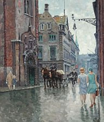 Hans Kruuse-View from Copenhagen with Rundetaarn and personers.