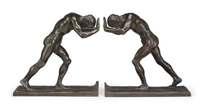 Isidore Konti-Pushing Men: A Pair of Bookends