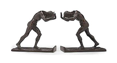 Isidore Konti-'Pushing Men': A Pair of Bookends
