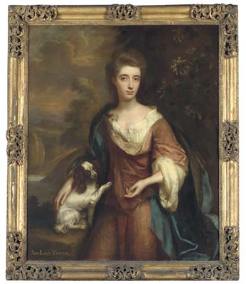 Thomas Murray-Portrait of Anne, Lady Trevor, three-quarter-length, in a pink dress with blue cloak, her right hand resting on a King Charles spaniel, honeysuckle to her left, a wooded river landscape with a castle beyond