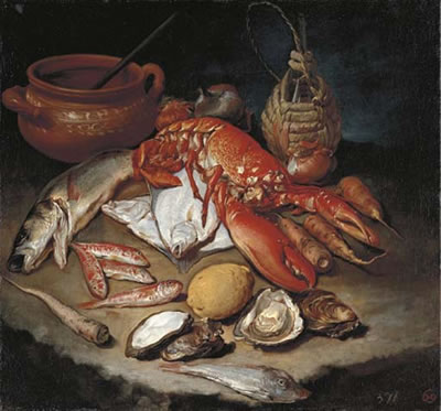 Giacomo (Il Pitocchetto) Ceruti-A lobster, herring, turbot, skate, red mullets and oysters with turnips, onions, a lemon, an earthenware pot and a wicker and glass bottle on a stone ledge