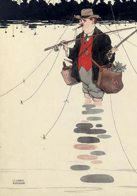 William Heath Robinson : Unsportsmanlike tactics of a competitor at a recent fishing tournament on Hampstead Ponds