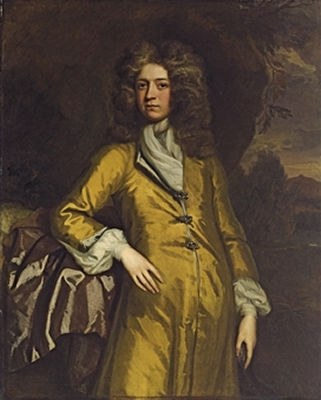 Thomas Murray-Portrait of a gentleman, traditionally identified as Sir Bulstrode Whitelock (1605-1675), three-quarter-length, in a yellow coat, against a rocky outcrop, a landscape beyond