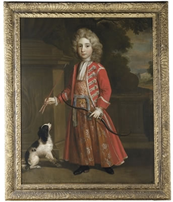 Thomas Murray-Portrait of Jonathan Stanyforth, full-length, in a red coat, with a dog, in a park landscape