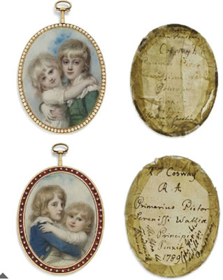 Richard Cosway-An important double-sided portrait miniature depicting the four children of Frederick Ponsonby, 3rd Earl of Bessborough (1758-1844) and his wife Henrietta Ponsonby, Countess of Bessborough, née Spencer (1761-1821): Sir John William Ponsonby, Viscount Dunc
