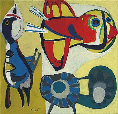 Karel Christiaan Appel-Two birds and a Flower