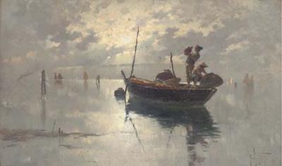 Fishermen on the Venetian lagoon, dusk