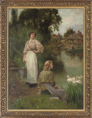 Henry John Yeend-King-Feeding the ducks, a summer day by the river