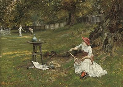 Francis Sydney Muschamp-A game of tennis