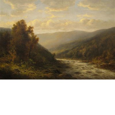 Thomas Griffin : Landscape with Rapids, Blue Sky and Clouds