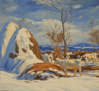 George Glenn Newell-WINTER GRAZING WITH HAYSTACKS