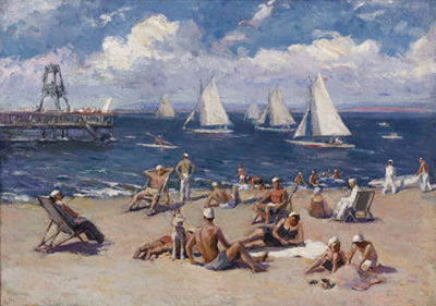 Boris V Shaposhnikov-Beach Scene with Sailboats, circa 1950