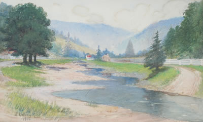 Jenny Eakin Delony-Stream in the Hills with Homestead