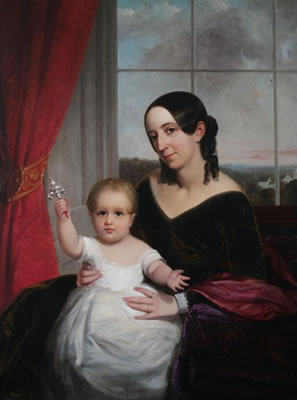 William Page-PORTRAIT OF MOTHER AND CHILD WITH SILVER RATTLE