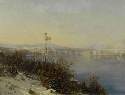Eugène Etienne Sordet-View of Geneva from Cologny.