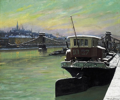 Geza Ulrich-Budapest in Winter with the Chain Bridge