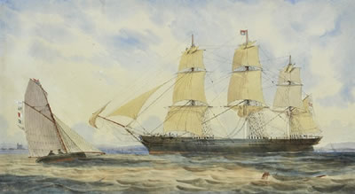 George Frederick Gregory-George Thompson and Co's Emigrant Barque in Hobson's Bay, Agent's Cutter Approaching