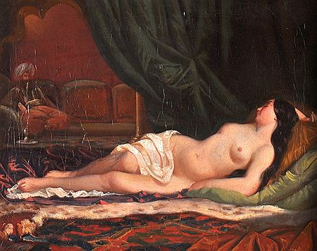 Charles (Carl or Karl) Muller-A Reclining Nude' in a Arabian Interior