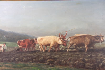 Horace Allkins-Teams of oxen ploughing