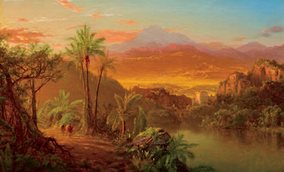 Louis Remy Mignot-Travelers in a Tropical Landscape