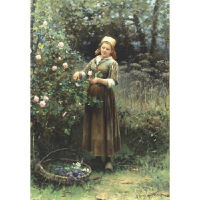Daniel Ridgway Knight-Cutting Roses