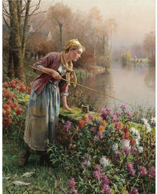 Daniel Ridgway Knight-Brittany Girl Fishing