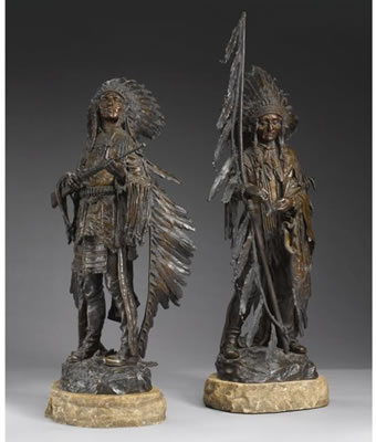 Carl Kauba-WAR AND PEACE: A PAIR OF BRONZES